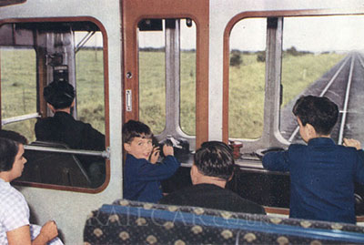 Children sharing a driver's eye view on a DMU